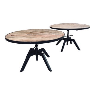 1990s Industrial Reclaimed Wood Side Tables - a Pair For Sale