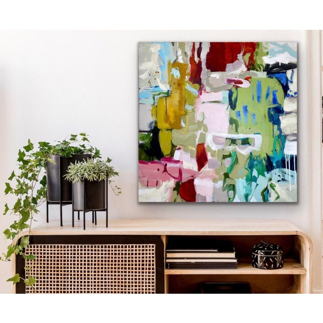 All the color and Lots of Layers! Acrylic, gouache, charcoal, and ink on gallery wrapped canvas. Satin polymer varnish...