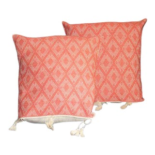 Pink Brocade Pillow Covers - a Pair For Sale