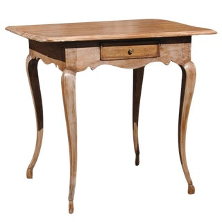 English Georgian Style Pine Side Table with Single Drawer and Limed Finish