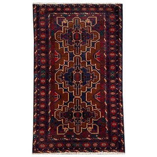 Traditional Hand Knotted Red, Navy, Gold and Green Baluchi Rug - 3′9″ × 6′8″ For Sale