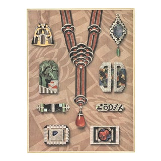 Matted Iconic French Art Deco Jewelry Design Lithograph For Sale