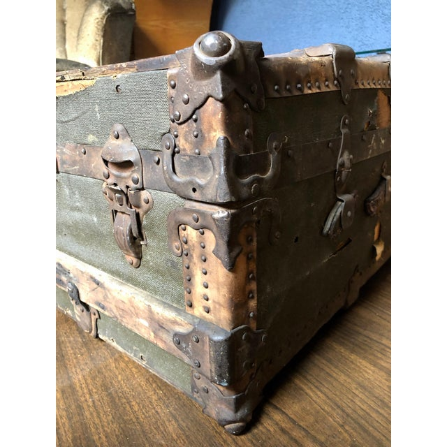 Vintage P & S Co. Wood Leather and Metal Trunk For Sale - Image 4 of 11