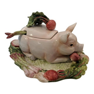 """Fitz and Floyd """"French Market"""" Soup Tureen and Platter, Shaped Like a Pig For Sale"""