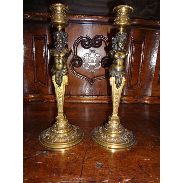 Pair of Bronze Louis Kley Candle Holders For Sale - Image 10 of 10
