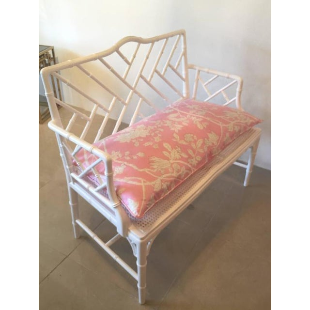 Textile Chinese Chippendale Faux Bamboo Lacquered Pink Cushion Arm Bench For Sale - Image 7 of 12