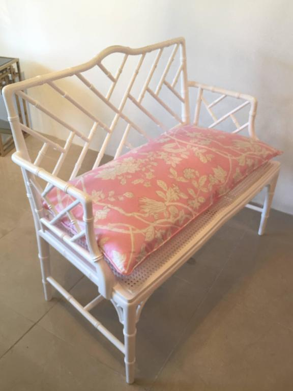 chinese chippendale faux bamboo lacquered pink cushion arm bench   image 7 of 12 chinese chippendale faux bamboo lacquered pink cushion arm bench      rh   chairish
