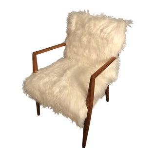 Restored Danish Mid-Century White Faux Fur Arm Chair
