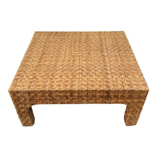 Boho Chic Large Square Rattan Coffee Table For Sale