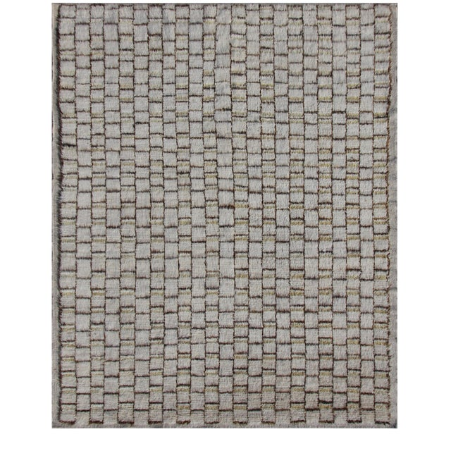 Moroccan Hand Knotted Wool Rug - 8'2' X 9'10' For Sale