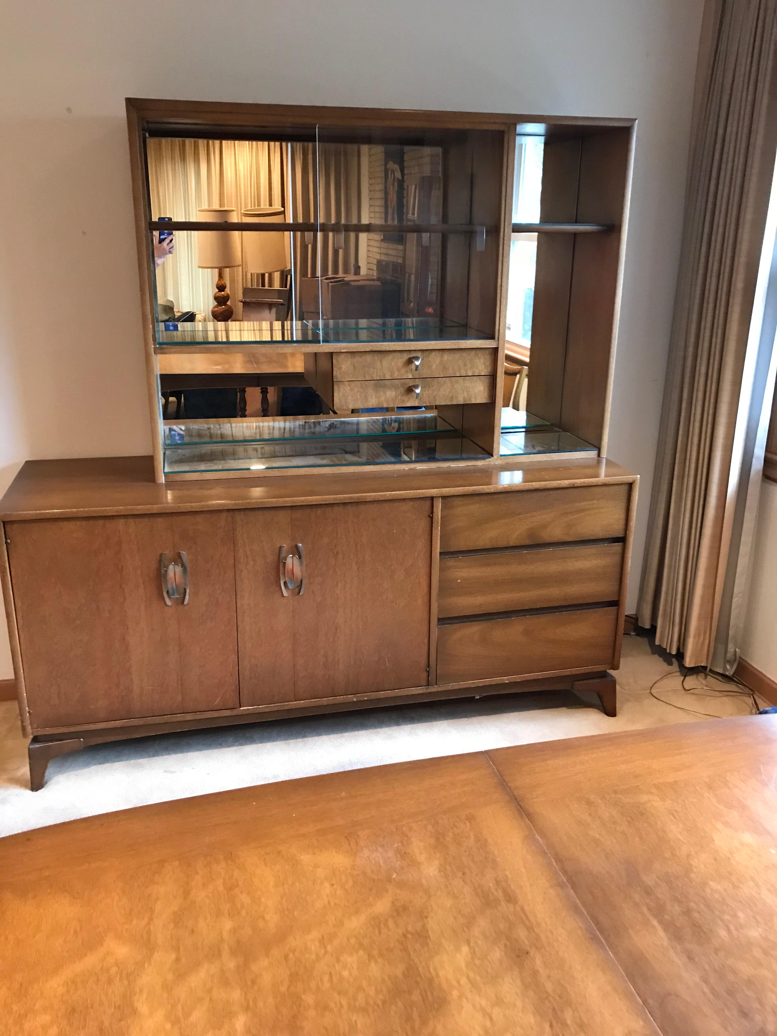 Mid Century Modern Glass Doors Mirrored Dining Room China Cabinet 2 Piece  Hutch   Image