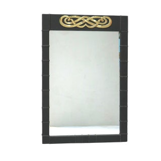 Mid Century Leather Ribbed Medallion Mirror For Sale