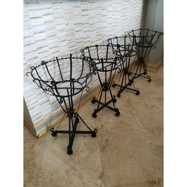 Mid-Century Modern Mid-Century Wrought Iron Basket Planters - Set of 4 For Sale - Image 3 of 10