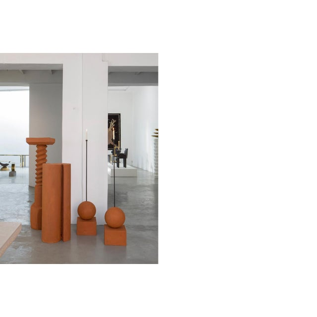2010s Terracotta Pedestals, Hand Sculpted, Rooms For Sale - Image 5 of 6