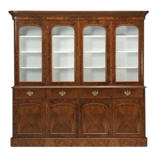 Antique English Burl Walnut Bookcase 1800s For Sale
