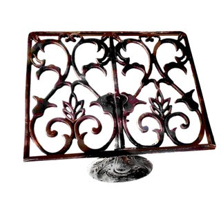 Late 20th Cast Iron Scrolling Art Nouveau Style Suspended Book Holder Easel For Sale