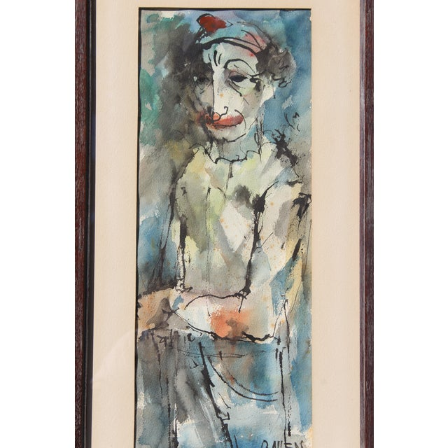 """Modern mid century """"instinctively signed"""" Canadian artist clown oil painting possibly signed, Oscar Cahen"""