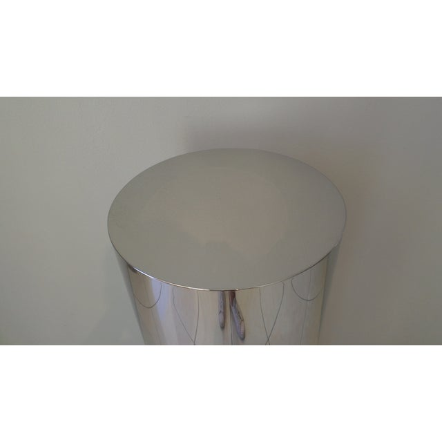 Contemporary Brueton Polished Staineless Steel Cylinder Pedestal For Sale - Image 3 of 4