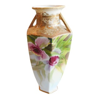 Late 19th Century Nippon Hand Painted Orchid Gilt Moriage Vase For Sale