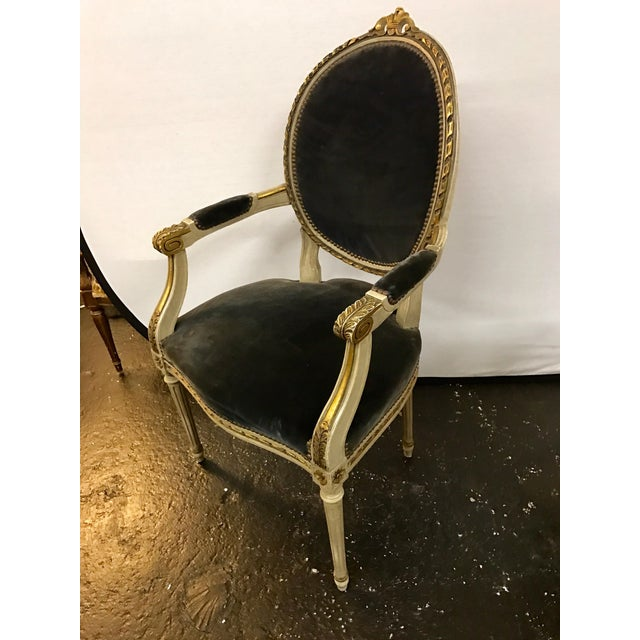 Louis XVI Set of Six French Antique Cream and Giltwood Dining Chairs Velvet Gray Fabric For Sale - Image 3 of 13