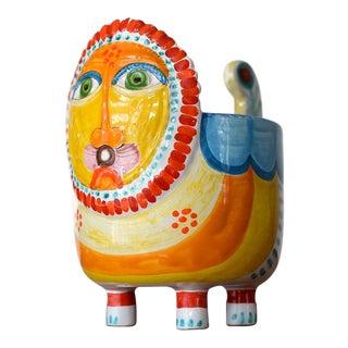 Giovanni Desimone Mid Century Ceramic Art Lion Bowl For Sale