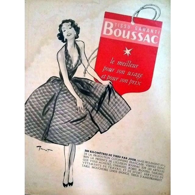 Pierre-Laurent Brenot 1958 Boussac Fabrics Advertisement For Sale - Image 4 of 4