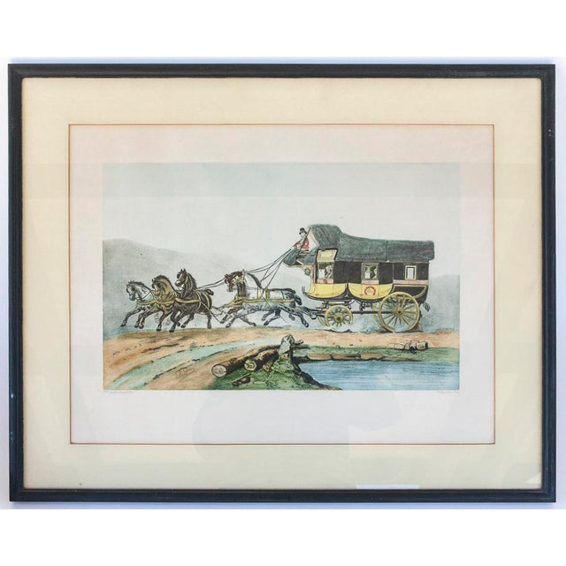 Vintage French Horse and Carriage Etching - Image 2 of 8