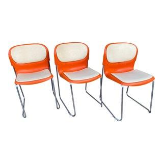 "Vintage Gerd Lange for Atelier International Orange Plastic "" Swing"" Chairs - Set of 3 For Sale"