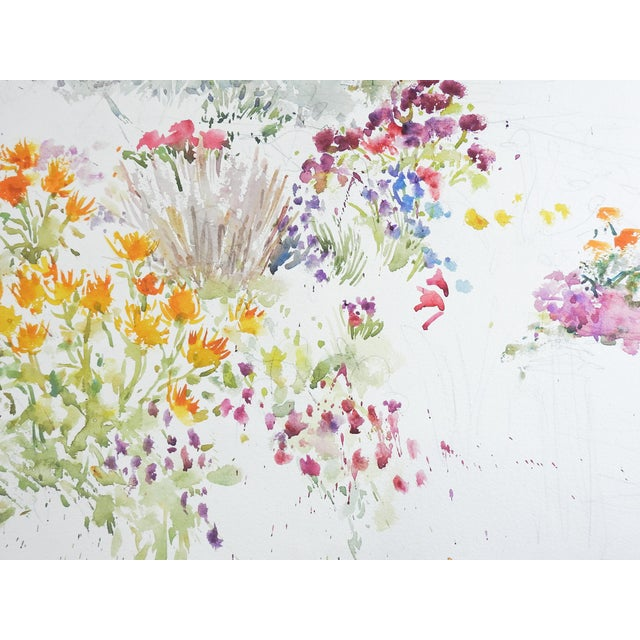 Garden Flowers Watercolor Painting For Sale - Image 4 of 5