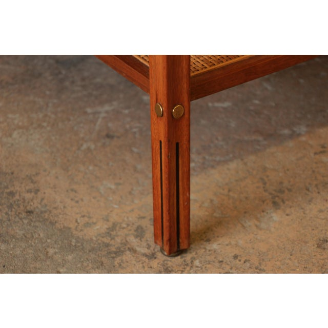 Gerry Zanck for Gregori Mid-Century Walnut & Travertine Side Table For Sale - Image 9 of 11