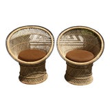 Image of Mid-Century Woven Rattan Tub Chairs / Barrel Chairs - a Pair For Sale