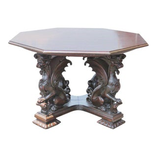 Victorian Carved Oak Center Table With Griffins
