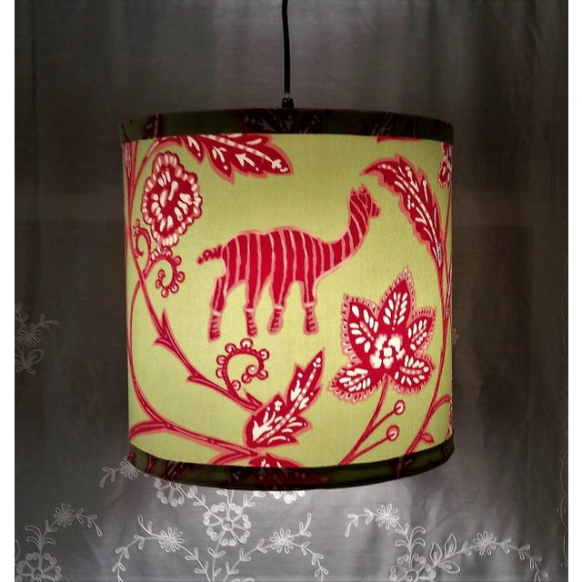 Metal Thibaut Fabric Lampshade Green Hot Pink Tropical For Sale - Image 7 of 10