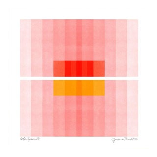 "Color Space Series 27: Pink, Red, Yellow - 30""x30"" - Natural Wood Frame For Sale"