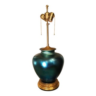 Antique Frederick Carder Steuben Blue Aurene Iridescent Glass Lamp For Sale