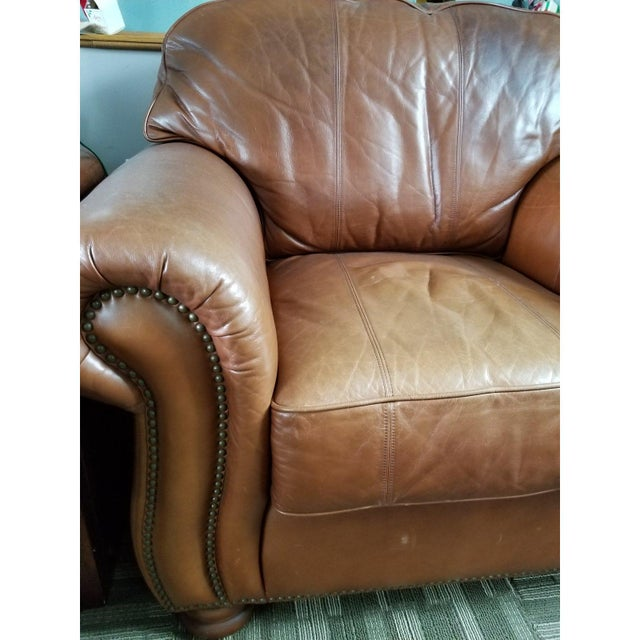 20th century leather cigar club chair. Soft leather. With nail head design. Very wide. Made by Thomasville Has velcro to...