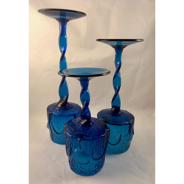 Vintage Stelvia Early 1960s Antiqua Candle Holders Designed by Blenko's Wayne Husted - Set of 3 For Sale - Image 10 of 11