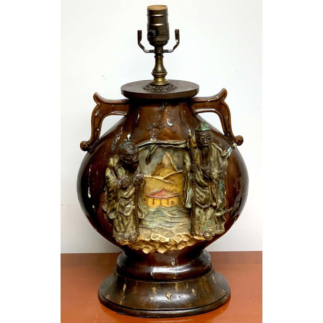 Chinoiserie Fantoni Chinoiserie Pottery Lamp For Sale - Image 3 of 11