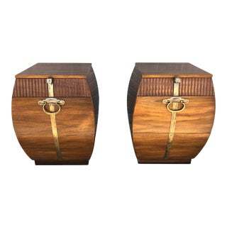 Vintage Solid Wood End Tables With Brass Details by John Widdicomb - a Pair For Sale