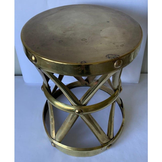 1970s 1970s Brass X-Frame Tabouret Stool For Sale - Image 5 of 7