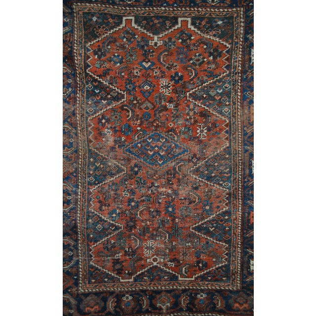 """Distressed Antique Persian Tribal Rug - 3'7"""" X 4'9"""" - Image 7 of 9"""