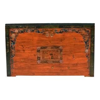 Antique Mongolian Green Saffron Chest / Credenza For Sale