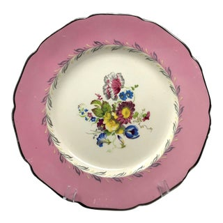 Large Hand Painted Gray's Pottery Pink & Scalloped Decorative Plate For Sale