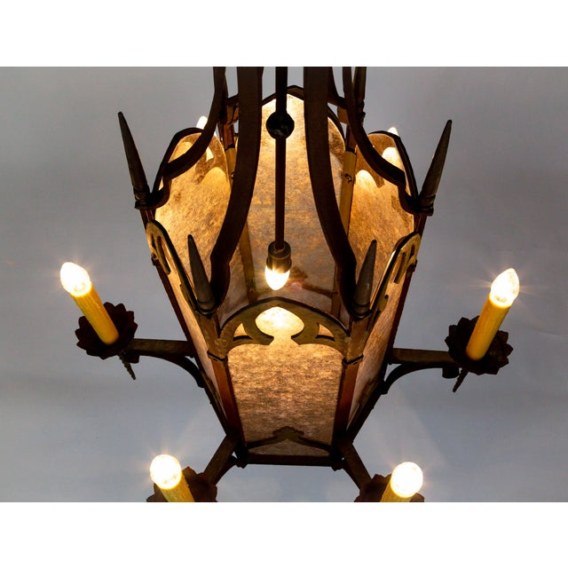 Bronze Large Antique Gothic Revival Bronze & Mica Lanterns (2 Available) For Sale - Image 7 of 13