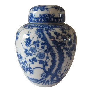 Blue & White Ginger Jar With Cherry Blossoms For Sale