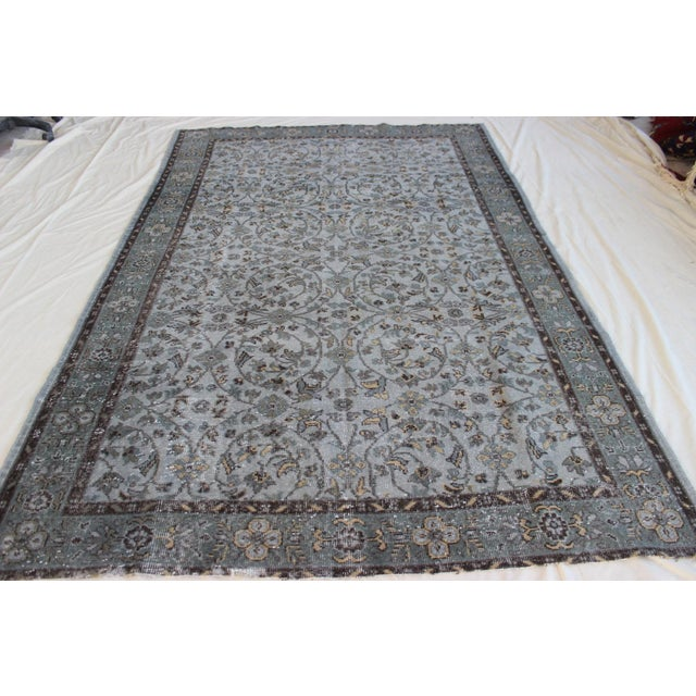 "Vintage Gray Turkish Over-Dyed Rug - 6' x 9'3"" - Image 7 of 10"