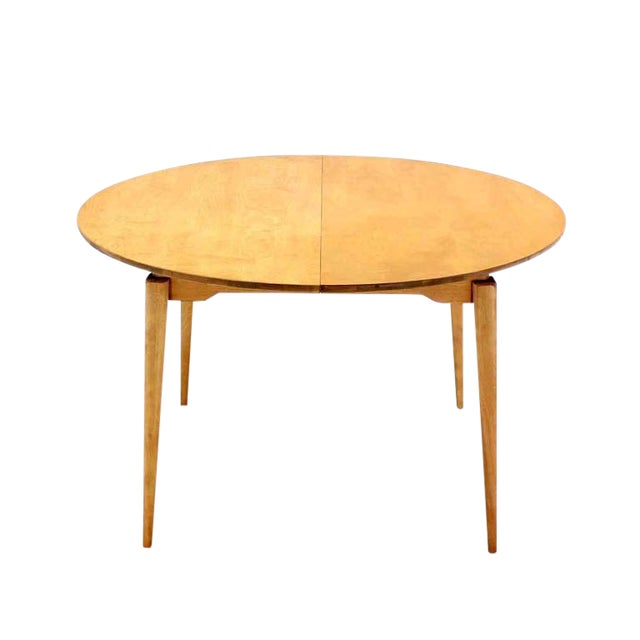 Round Birch Dining Table with Three Leaves For Sale