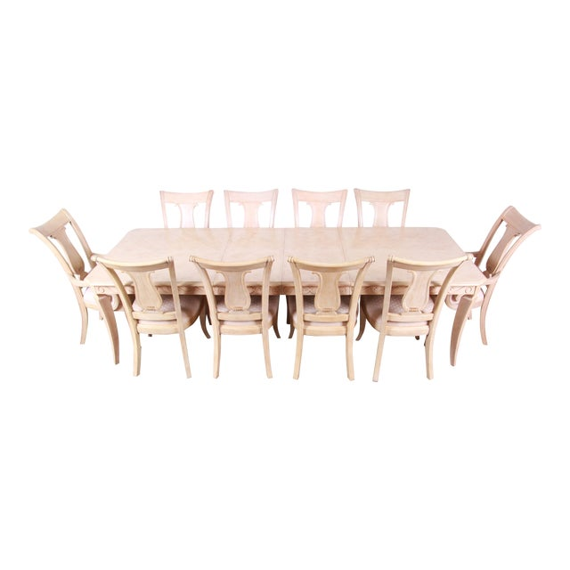 Bernhardt Mediterranean Style Carved Maple Dining Set With Ten Chairs For Sale