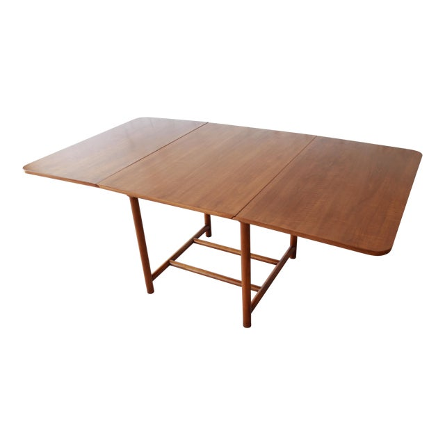 . Robsjohn Gibbings for Widdicomb Mid Century Modern Cherry Wood Drop Leaf  Dining Table  1954