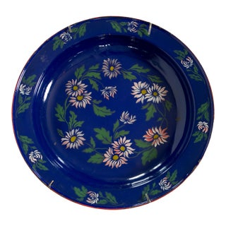 1930s Blue Enamelware Painted Platter